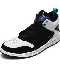 tenis basketball negro-blanco-morado nike jordan fadeaway