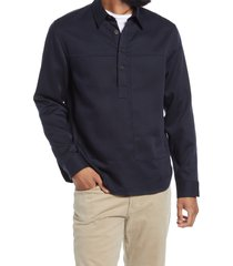 men's vince twill pullover shirt, size large - blue