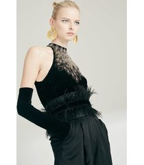 duchess satin belt with feathers, women's, black, josie natori