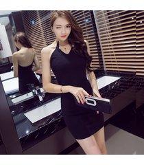 pf258 sexy cute neck halter mini dress, open back, size s-xl, black