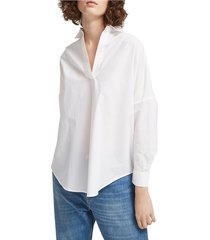 french connection women's rhodes oversized poplin cotton top - indigo - size xs