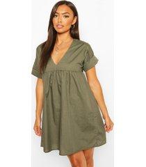 petite v-neck short sleeved smock dress, khaki