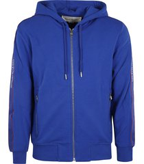 alexander mcqueen logo sided zipped hoodie
