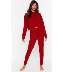 womens at my knits end hoodie and joggers lounge set - rust