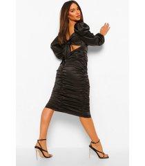 geplooide satijnen midi jurk met rug strik, black