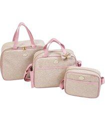 kit bolsa maternidade tutti baby clássica bege/rosa