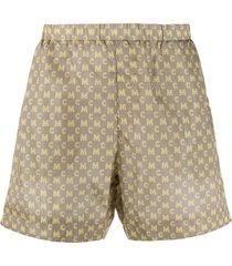 mcm all-over logo swim shorts - neutrals
