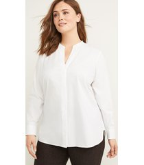 lane bryant women's poplin button-front tunic top 18/20 white