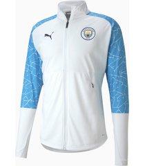 man city stadium jacket voor heren, wit/blauw/aucun, maat s | puma