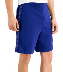 a x armani exchange men's logo taped french terry drawstring shorts