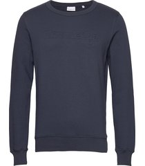 elm embossed knowledge sweat - gots sweat-shirt trui blauw knowledge cotton apparel