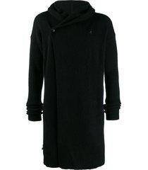 rick owens long line knit hoodie - black