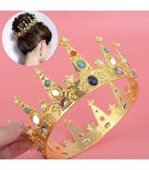 sposa copricapo da cerimonia nuziale con strass scintillante in oro e diamanti