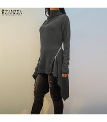 zanzea resorte de las mujeres suéter superior del puente tee camiseta de la túnica de la llamarada alto bajo la blusa -gris