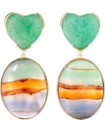 stripe agate and jade heart earrings