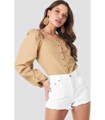 na-kd boho square neck volume sleeve blouse - beige