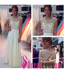 a line scoop cap sleeved beaded white open back prom dresses/evening/formal gown