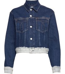 cropped omega trucker jeansjack denimjack blauw calvin klein jeans