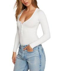 women's good body snap henley bodysuit, size 4 - white