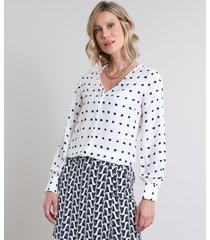 camisa feminina estampada manga longa decote v branca