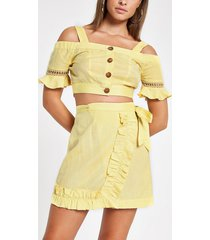 river island womens lime button detail cold shoulder beach top