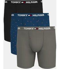 tommy hilfiger men's everyday microfiber boxer brief 3pk black/blue sapphire micro flag print/steeple grey - l