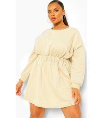 plus sweatshirt jurk met elastische taille, zand