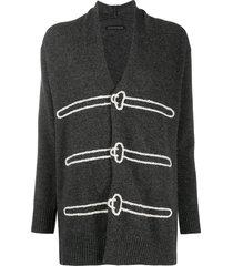 y's braided trim cardigan - grey