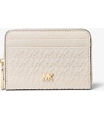 mk portafoglio piccolo in pelle con logo impresso - sabbia chiaro (naturale) - michael kors