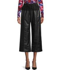kenzo women's leather drawstring cropped pants - black - size 34 (2)