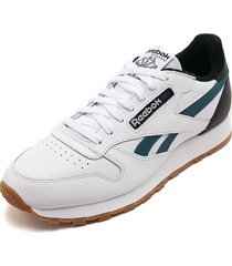 tenis running blanco-verde-negro reebok cl leather mu