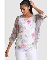 blouse alba moda offwhite::blauw