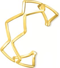 alfani gold-tone triangular double-row cuff bracelet, created for macy's