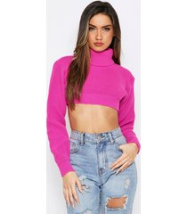 rollneck knitted super cropped sweater, fuchsia