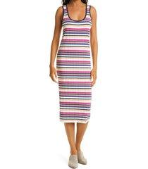 club monaco summer sleeveless rib midi dress, size x-large in stripe at nordstrom