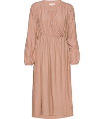 hannah midi wrap dress knälång klänning rosa soft rebels
