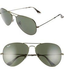 men's ray-ban 62mm aviator sunglasses - sand transparent green