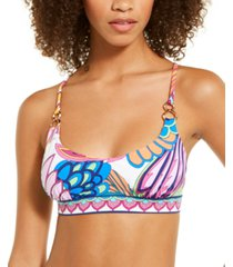 trina turk paradise plume printed bralette bikini top women's swimsuit