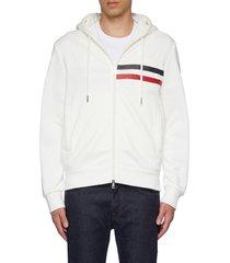 tri-colour logo embossed zip-up hoodie