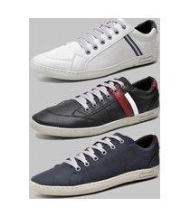 kit 3 pares de sapatênis casual dexshoes cinza/preto/azul