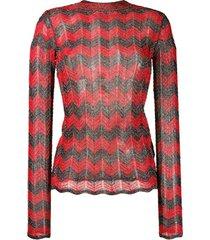 m missoni suéter chevron em lurex - vermelho