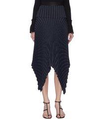 pin stripe pleated handkerchief skirt