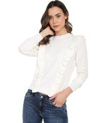 blusa arandelas frente cuello redondo giive - oma507-marfil