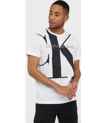 calvin klein jeans upscale monogram logo reg tee t-shirts & linnen white