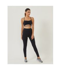 amaro feminino legging fitness biodegradável bolso lateral, preto