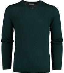 bos bright blue cas v-neck pullover flat knit 19305ca21bo/357 forest