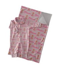 kit saída maternidade com macacáo e manta ursinha princesa rosa calupa