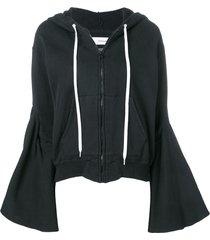 facetasm flared sleeve zip hoodie - black