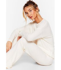 womens knit's time for coffee sweater and pants lounge set - ecru