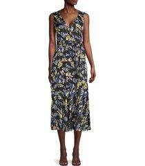 sam edelman women's floral tie midi dress - black multi - size 8